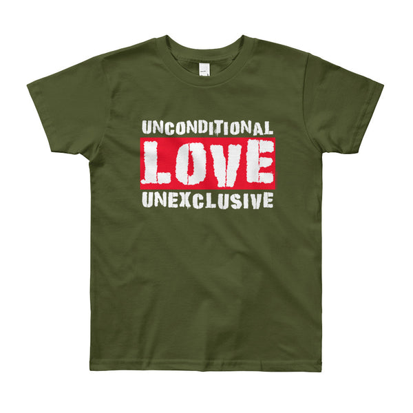 Unconditional Love Unexclusive Family Unity Peace Youth Short Sleeve T-Shirt - Made in USA + House Of HaHa