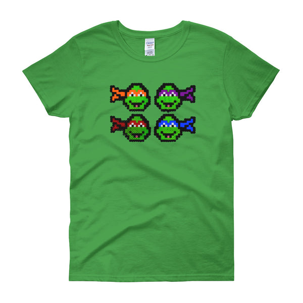 Ninja Turtles Perler Art Women's Short Sleeve T-Shirt by Aubrey Silva