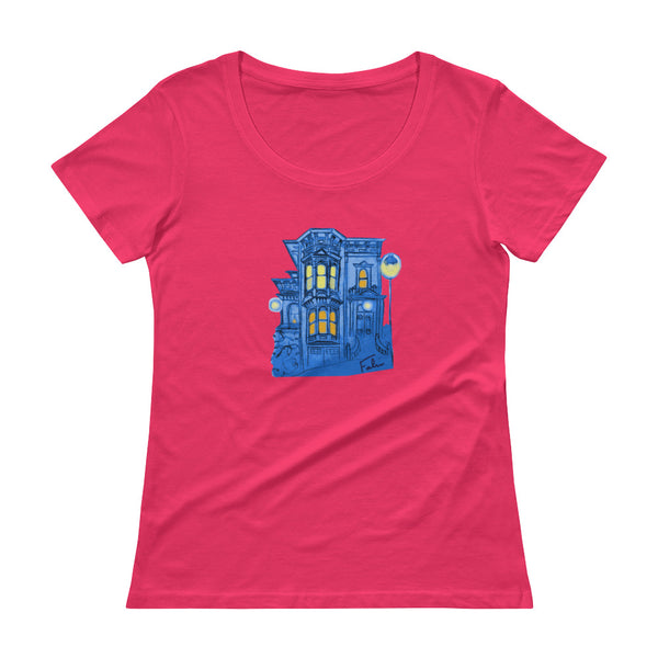 Blue Victorian San Francisco Ladies' Scoopneck T-Shirt by Nathalie Fabri + House Of HaHa Best Cool Funniest Funny T-Shirts
