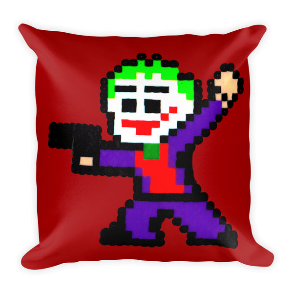 Joker Perler Art Square Pillow by Silva Linings