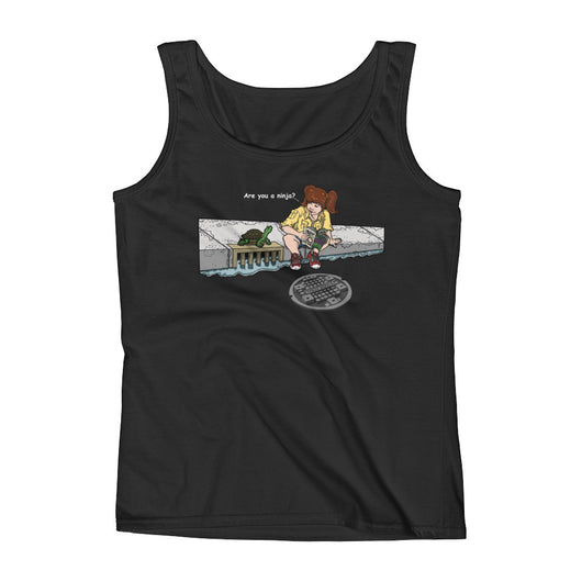 April in New York TMNT Are You a Ninja? Sewer Turtle Ladies' Tank Top + House Of HaHa Best Cool Funniest Funny Gifts