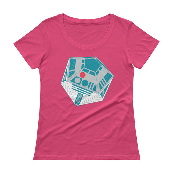 R2-D20 Star Wars Twenty Sided Gaming Die Ladies' Scoopneck Women's T-Shirt + House Of HaHa Best Cool Funniest Funny T-Shirts