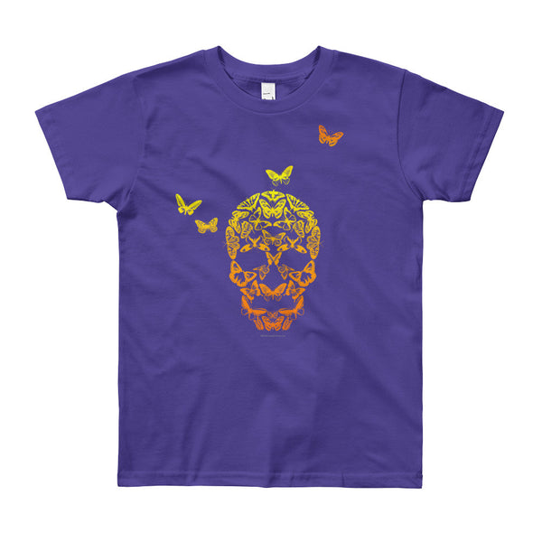 Butterfly Skull Youth Short Sleeve T-Shirt - Made in USA + House Of HaHa Best Cool Funniest Funny Gifts