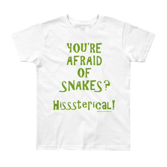You're Afraid of Snakes? Funny Herpetology Herper Youth Short Sleeve T-Shirt - Made in USA + House Of HaHa Best Cool Funniest Funny Gifts