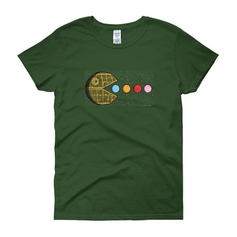 PAC-MOON Death Star Pac-Man Mashup Women's short sleeve t-shirt by Aaron Gardy + House Of HaHa Best Cool Funniest Funny Gifts
