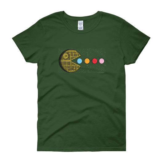 PAC-MOON Death Star Pac-Man Mashup Women's short sleeve t-shirt by Aaron Gardy