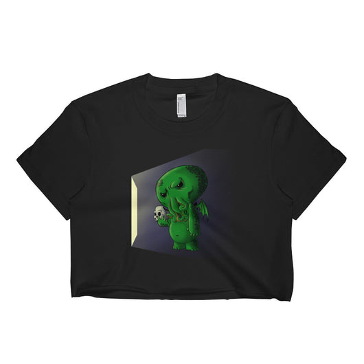Midnight Snack Chibi Cthulhu Women's Short Sleeve Crop Top Shirt - Made in USA + House Of HaHa