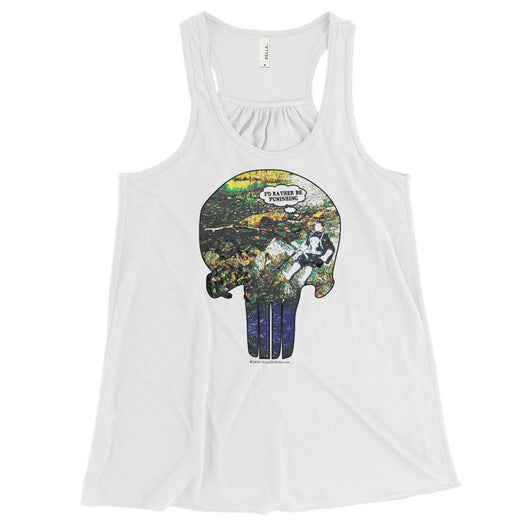 I'd Rather Be Punishing Women's Flowy Racerback Punisher Fishing Tank Top + House Of HaHa