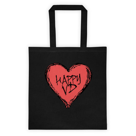 Happy VD Valentines Day Heart STD Holiday Humor Double Sided Print Tote Bag + House Of HaHa Best Cool Funniest Funny T-Shirts