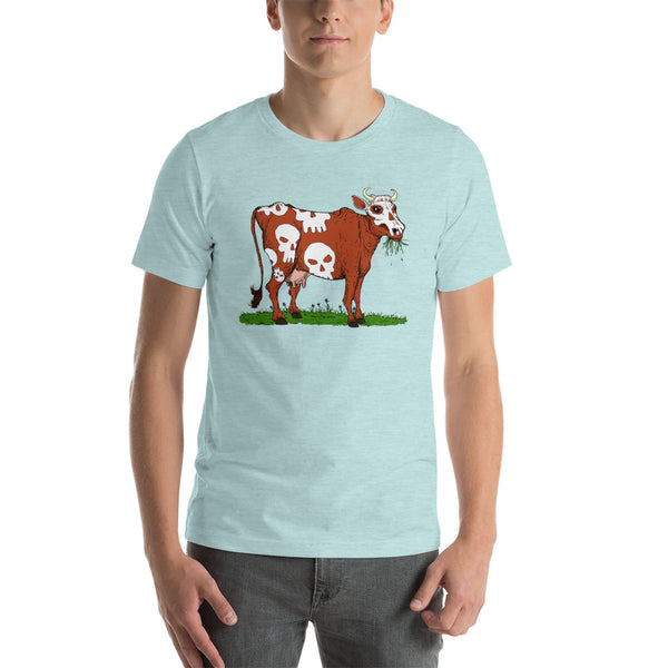 Scary Dairy Cow Skull Vegan T-Shirt + House Of HaHa Best Cool Funniest Funny T-Shirts