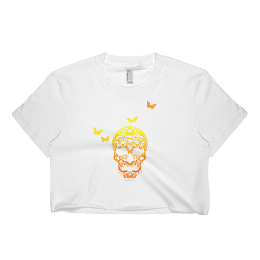 Butterfly Skull Short Sleeve Crop Top - Made in USA + House Of HaHa Best Cool Funniest Funny T-Shirts