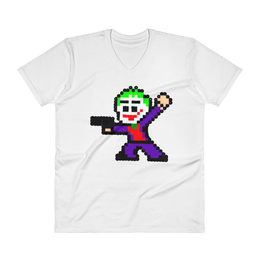 Joker Perler Art Men's V-Neck T-Shirt by Silva Linings