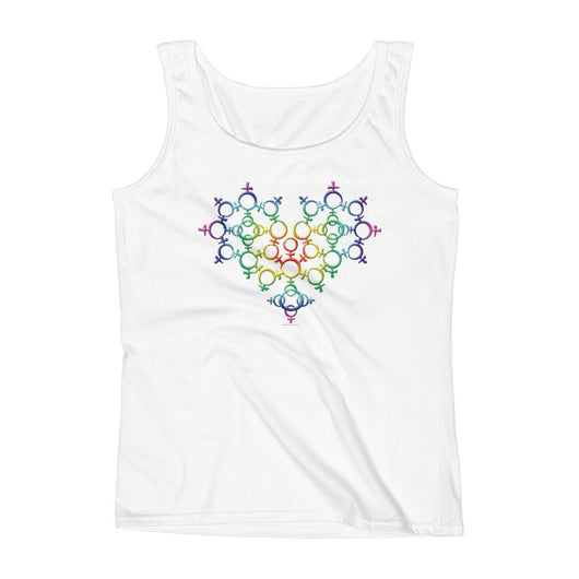 Rainbow Female Gender Venus Symbol Heart Love Unity Ladies' Tank Top + House Of HaHa