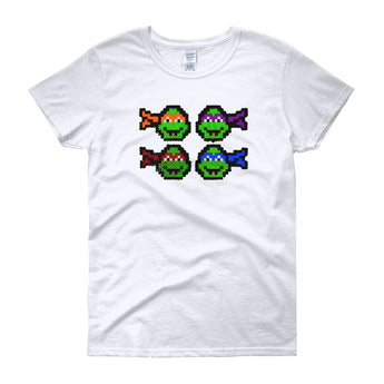 Ninja Turtles Perler Art Women's Short Sleeve T-Shirt by Aubrey Silva + House Of HaHa Best Cool Funniest Funny Gifts