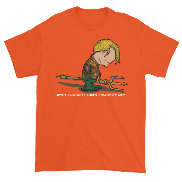 Why's Everybody Always Picking On Me? Men's Short Sleeve Aquaman Charlie Brown Mash-Up T-Shirt - House Of HaHa