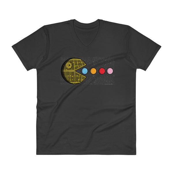 PAC-MOON Death Star Pac-Man Mashup Men's V-Neck T-Shirt by Aaron Gardy