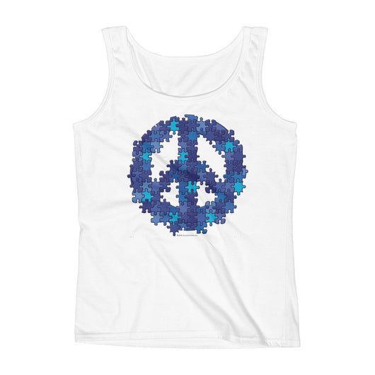 Puzzle Peace Sign Autism Spectrum Asperger Awareness Ladies' Tank Top + House Of HaHa Best Cool Funniest Funny T-Shirts