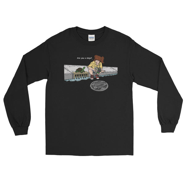 April in New York TMNT Are You a Ninja? Sewer Turtle Men's Long Sleeve T-Shirt + House Of HaHa