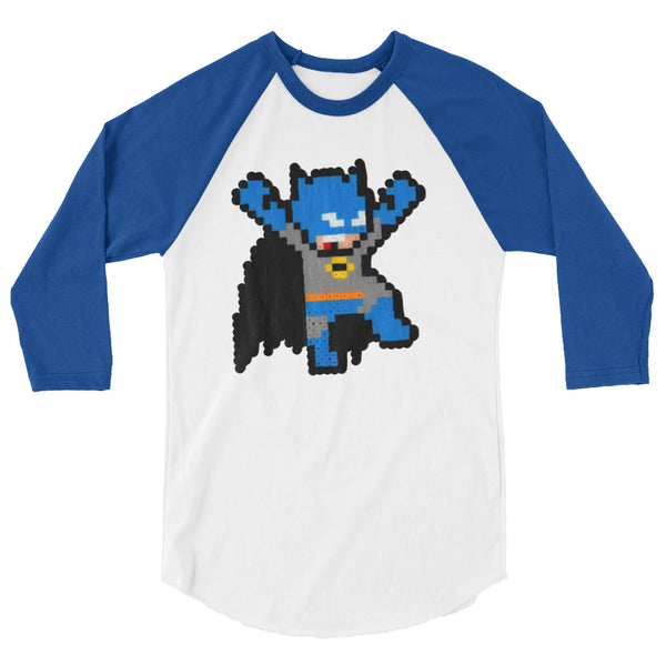 Batman Perler Art 3/4 Sleeve Raglan Shirt by Silva Linings + House Of HaHa Best Cool Funniest Funny T-Shirts