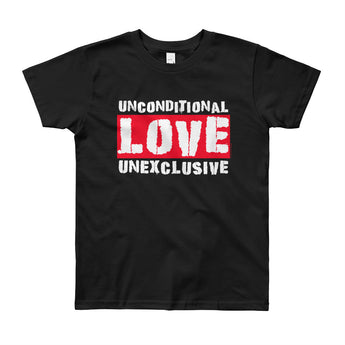 Unconditional Love Unexclusive Family Unity Peace Youth Short Sleeve T-Shirt - Made in USA + House Of HaHa Best Cool Funniest Funny Gifts