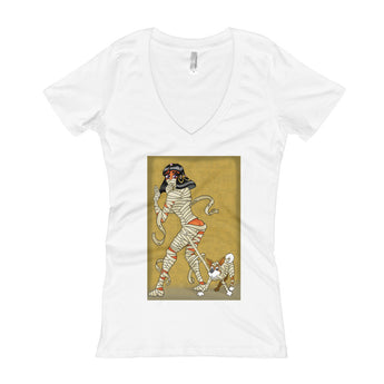 Mummy Pin-Up Women's V-Neck T-Shirt + House Of HaHa Best Cool Funniest Funny Gifts