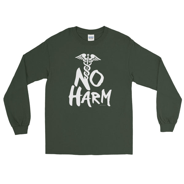 No Harm Caduceus EMT Paramedic Medical Symbol Long Sleeve T-Shirt + House Of HaHa