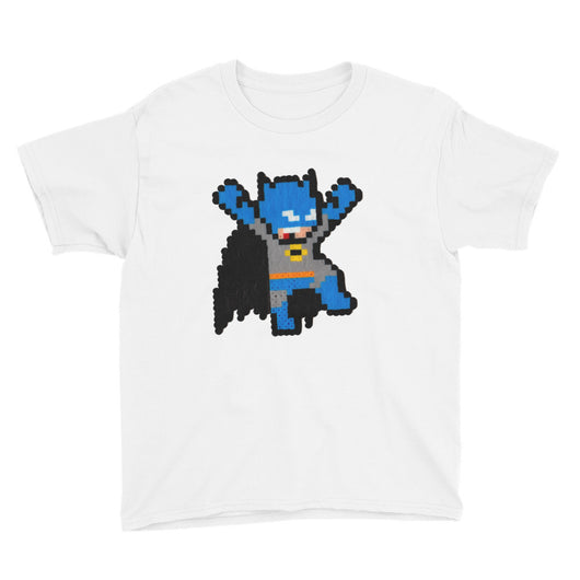 Batman Perler Art Youth Short Sleeve T-Shirt by Silva Linings + House Of HaHa Best Cool Funniest Funny T-Shirts