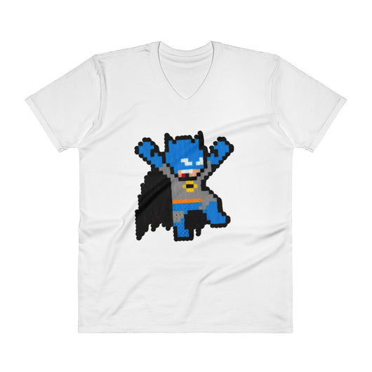 Batman Perler Art V-Neck T-Shirt by Silva Linings + House Of HaHa Best Cool Funniest Funny T-Shirts