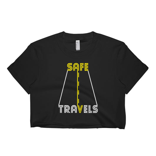 Safe Travels Vacation Road Trip Highway Driving Short Sleeve Crop Top Shirt - Made in USA + House Of HaHa