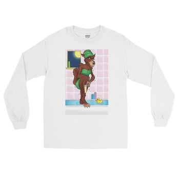Werewolf Shaving in the Shower Long Sleeve T-Shirt + House Of HaHa Best Cool Funniest Funny Gifts