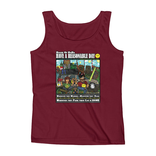 Have A Reasonable Day Camping Across America Ladies' Tank by Aaron Gardy + House Of HaHa Best Cool Funniest Funny T-Shirts
