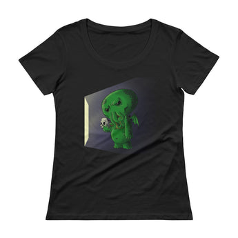 Midnight Snack Chibi Cthulhu Ladies' Scoopneck Women's T-Shirt + House Of HaHa Best Cool Funniest Funny Gifts