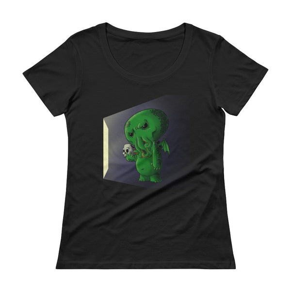 Midnight Snack Chibi Cthulhu Ladies' Scoopneck Women's T-Shirt + House Of HaHa