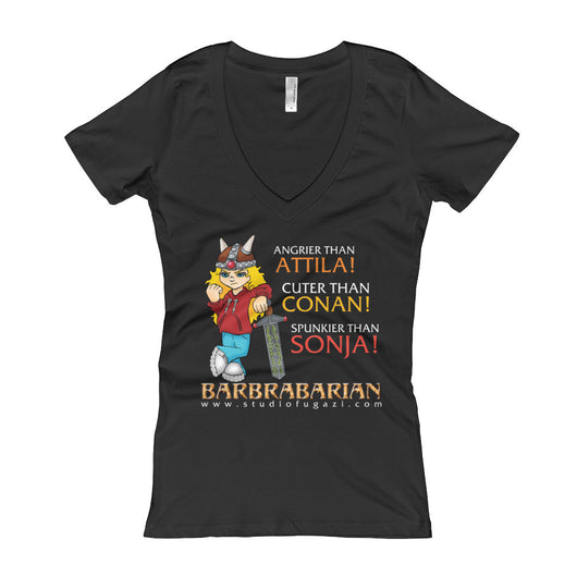 Barbrabarian Women's V-Neck T-Shirt + House Of HaHa Best Cool Funniest Funny T-Shirts