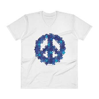 Puzzle Peace Sign Autism Spectrum Asperger Awareness Men's V-Neck T-Shirt + House Of HaHa Best Cool Funniest Funny Gifts