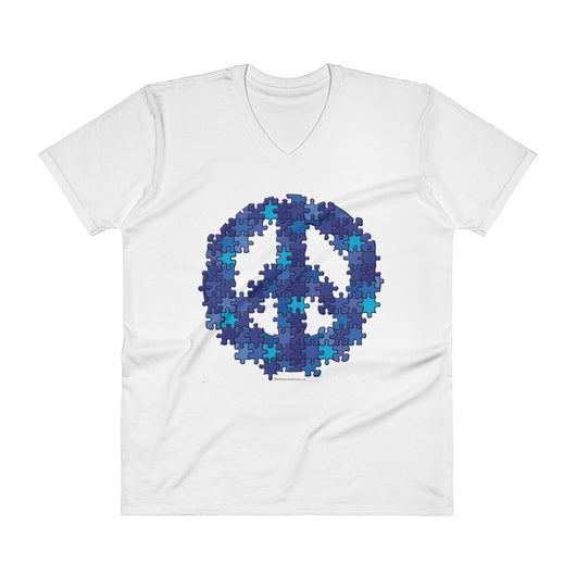 Puzzle Peace Sign Autism Spectrum Asperger Awareness Men's V-Neck T-Shirt + House Of HaHa