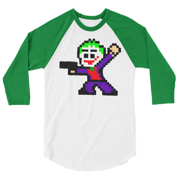 Joker Perler Art 3/4 Sleeve Raglan Shirt by Silva Linings + House Of HaHa Best Cool Funniest Funny Gifts