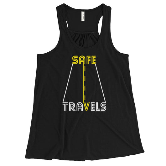 Safe Travels Vacation Road Trip Highway Driving Women's Flowy Racerback Tank Top + House Of HaHa