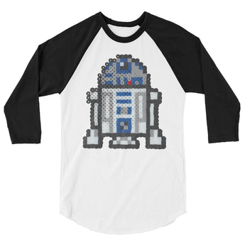 R2-D2 Perler Art 3/4 Sleeve Raglan Shirt by Aubrey Silva + House Of HaHa Best Cool Funniest Funny Gifts