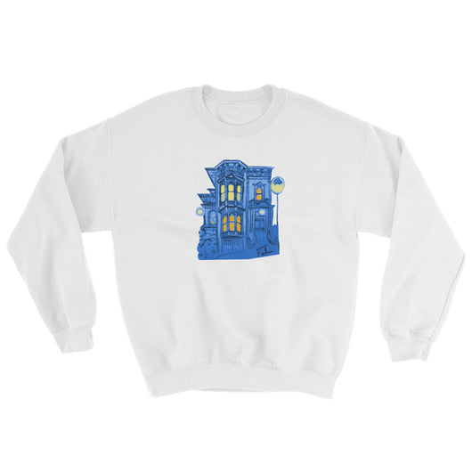 Blue Victorian San Francisco Sweatshirt by Nathalie Fabri + House Of HaHa Best Cool Funniest Funny T-Shirts