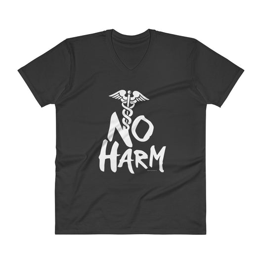 No Harm Caduceus EMT Paramedic Medical Symbol  V-Neck T-Shirt + House Of HaHa
