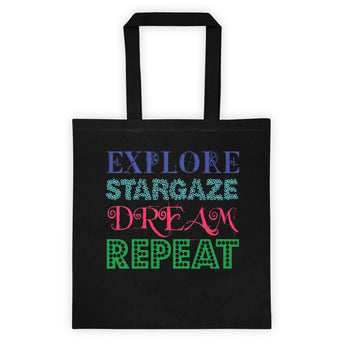 Explore Stargaze Dream Repeat Tote bag + House Of HaHa Best Cool Funniest Funny Gifts