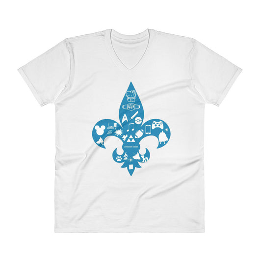Awesome Geeks Geeky Passions Fleur de Lis V-Neck T-Shirt + House Of HaHa Best Cool Funniest Funny T-Shirts