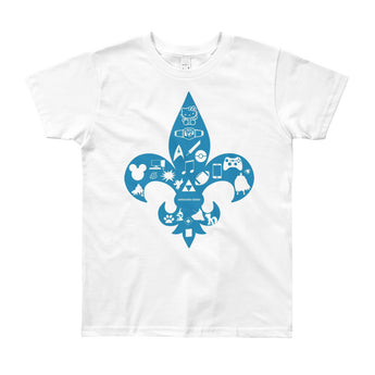 Awesome Geeks Geeky Passions Fleur de Lis Youth Short Sleeve T-Shirt - Made in USA + House Of HaHa Best Cool Funniest Funny Gifts