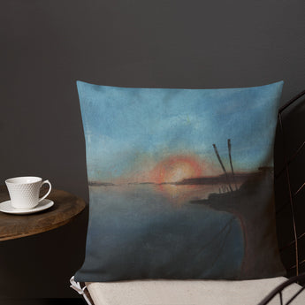 Sunset at Fisherman Sand Lake Estuary Premium Decorative Pillow + House Of HaHa Best Cool Funniest Funny Gifts