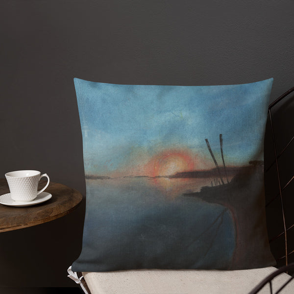 Sunset at Fisherman Sandlake Estuary  Premium Pillow