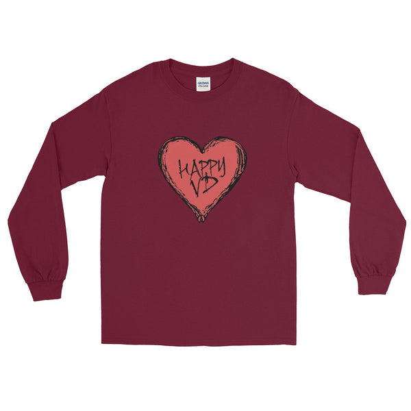 Happy VD Valentines Day Heart STD Holiday Humor  Men's Long Sleeve T-Shirt + House Of HaHa Best Cool Funniest Funny T-Shirts