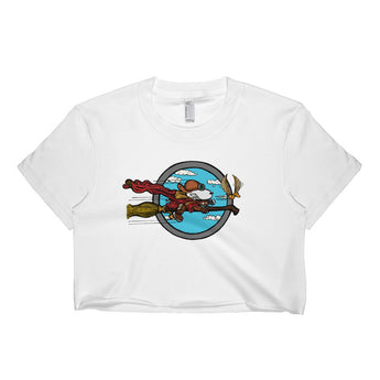 Wizard Flying Ace Short Sleeve Crop Top - Made in USA + House Of HaHa Best Cool Funniest Funny Gifts