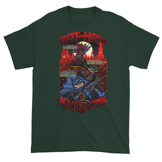 GOT-HAM Knights Batman Gotham Pig Parody Mash-Up Mens Short Sleeve T-Shirt by Aaron Gardy + House Of HaHa Best Cool Funniest Funny T-Shirts