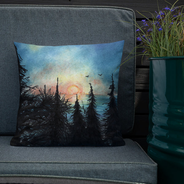 Coastal Sunset overlooking Sand Lake Oregon Premium Pillow + House Of HaHa Best Cool Funniest Funny Gifts